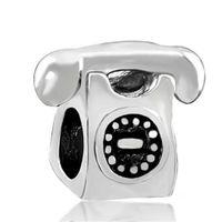 Moda donna gioielli stile europeo numero di telefono telefono metallo distanziatore perlina portafortuna adatto braccialetto di fascino Pandora