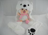 Envío gratis Animal Hat con guantes líder animal guante y hat bear wholesale low price 100% new