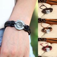 12 PCS taichi yingyang Envoltório Genuíno Pulseira De Couro Nova Moda Para As Mulheres Homens Corda Charme Cuff Bracelet Jewelry SH-S50100