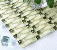Azulejos de mosaico de vidrio de color verde montado en la pared arco patrón de mosaico cristal vidrio mosaicos metálicos