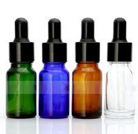 증권 10ml의 유리에서 황색 블루 그린 지우기 스포이드 병 병 둥근 모양 빈 E-액체 병 W / 에센셜 오일에 대한 골드 블랙 캡