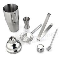 Al por mayor-Set 5 Cocktail de acero inoxidable 750ml Shaker Jigger Mixer Ice Strainer Clip Spoon