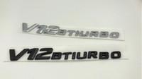 высокое качество ABS пластик черный / серебряный V12 BITURBO номер письма багажник эмблема значок наклейка для Mercedes Benz