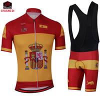 Espanha bandeira Nacional Conjuntos de Ciclismo Respirável Ciclismo Jerseys Quick-Secar Roupas de Ciclismo GEL Pad mtb Montanha Ropa ciclismo