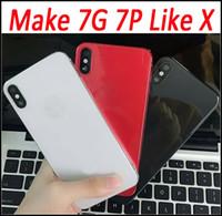 IPhoneX Tarzı Pil Kapı Kapak Çerçeve için Alüminyum Metal Cam Arka Konut Değiştirme iPhone 7 Için 6 6 s 6 Artı iPhone X