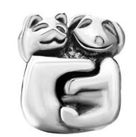Gepersonaliseerde sieraden Leuke kat en hond met samen europese kraal metalen bedel dames armband met grote gat pandora chamilia compatibel