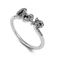 Funkelnde Schleife Unterschrift der Liebe Ringe 100% 925 Sterling Silber Perlen für Pandora Charms Authentic DIY Modeschmuck