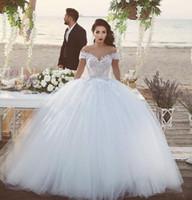 Moda fora do ombro 2018 vestido de bola vestidos de casamento barato com mangas curtas Applique Lace Tulle Court Train Plated Garden Country