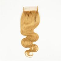 Nerz Brasilianische Reine Haarkörperwelle Spitzeschliessen Honig Blonde Menschenhaar-spitze-schliessen Jungfrau Brasilianische Körperwelle Verschluss Schweizer Spitze 4x4