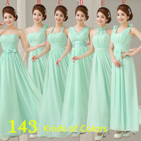 Mint Green Strapless Pleated Long Chiffon Bridesmaid Dress R...