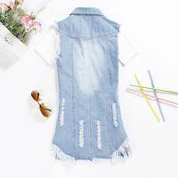Gilet 5XL Style D'été Bleu Jean Gilet Femmes Chalecos Mujer 2015 Denim Tassel Gilet Veste Colete Feminino Long Gilet Plus La Taille