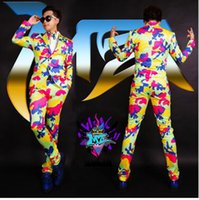 Male singer fashionable nightclub in Europe and the runway looks glamorous color camouflage suit costumes. S - 6 xl
