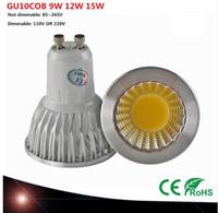 Супер яркий GU10 лампочки Dimmable Светодиодный потолочный светильник Теплый / белый 85-265 9W 12W 15W GU10 COB Светодиодная лампа GU10 Светодиодный прожектор