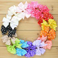 100pcs / lot Grosgrain Polka Dot Ribbon Bow pour bandeau Bande Boutique Bonds Baby Girls Hair Accessoriser
