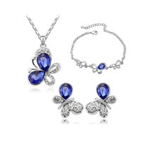 Bracelets Necklaces and Earrings Sets Luxury Crystal Wedding...