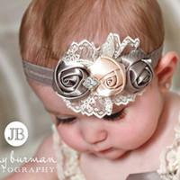 Acessórios de cabelo Headband bebé de Acessórios de cabelo Pedrinhas Satin Rose Flor de Bonito Bebés Meninas Flower Bow Hairband Crianças barato