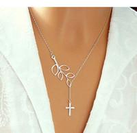 10шт-N025 лист петельные с крестом ожерелье крест и ветви дерева ожерелье простой Лариат Оливковая ветвь y Ожерелье для леди женщин