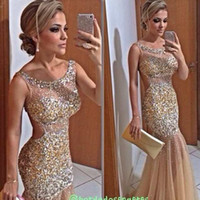 Bling Gold Mermaid Abendkleider Sheer Neck Kristall Perlen Tüll Bodenlangen Backless Celebrity Kleider Sexy Prom Kleider