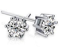 Noble 925 plata esterlina brillante diamante corona Stud pendientes moda Suecia joyería hermosa boda / compromiso regalo envío gratis