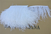 Free Shipping 10 yards lot white ostrich feather trimming fr...