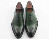 Hombres Zapatos de vestir Zapatos Oxfords Zapatos hechos a mano personalizados Zapatos para hombres Cuero artesanal genuino color verde HD-0102