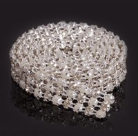 Nuovo MIC 1 Yard 3 Righe Clear Crystal Rhinestone Diamante nastro Perla Avvolge torta Craft Craft Dec Wedding Supplies
