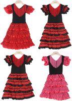 طفل الفتيات اللباس مادة البوليستر طفلة فساتين الفلامنكو ثلاثة ألوان وعالية الجودة الفلامنكو الرقص اللباس PT004