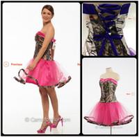 2016 nouvelle arrivée courte robes de demoiselle d'honneur camo une ligne sans bretelles tulle rose moins cher robe de demoiselle d'honneur avec lacets
