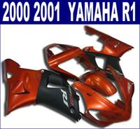 7 أجزاء مجانية من قطع غيار الدراجات النارية لياماها fairings 2000 2001 YZF R1 أحمر لامع أسود fairing kit