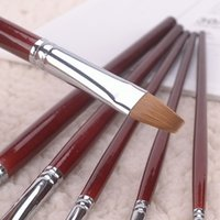 6 Kolinsky Sable Art Acrylic Paint Brush Set Red Wooden Hand...