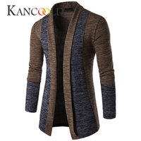 Wholesale- 2017 winter Men Solid Slim Trench Coat Long Sleev...