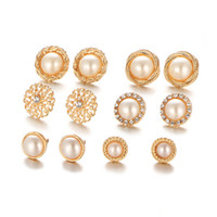 Gold Color Crystal Stud Earrings Sets For Women 6 Pair set Z...