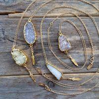 Оптом новый !! Натуральное ожерелье Druzy с древесными подвесками на складе, круглосуточный ожерелье из позолоченного камня Druzy Agate