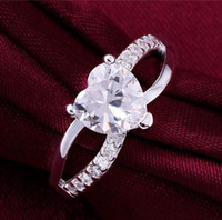 Top quality 925 silver swiss CZ diamond heart- shaped engagem...