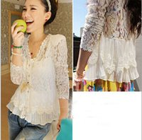Women Blouses White Lace Crochet Chiffon Floral Shirt Long S...