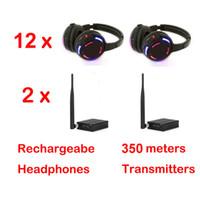 Écouteurs disco silencieux x 12 avec 2 canaux Système de négociation sans fil - RF sans fil pour iPod MP3, musique DJ