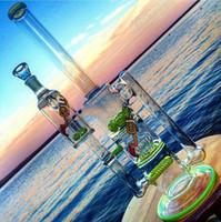 Tubo dritto colorato Bong in vetro multistrato Percolatore Bubbler Recycler Oil Rigs Pratico Water Pipes con Ash Catcher Thickness Glass Glass Narghilè