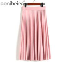 Aonibeier moda mujer de cintura alta plisado longitud del color sólido falda elástica Promociones Lady Negro Rosa Partido Faldas ocasionales