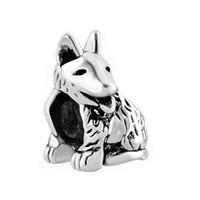 Joyas personalizadas Perro lindo cachorro mascota animal grano europeo metal encanto pulsera de las señoras con el agujero grande Pandora Chamilia Compatible