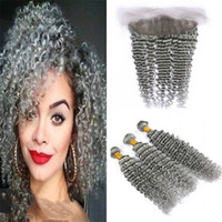 Indian Deep Wave Grey Paquetes de cabello gris con cierre frontal de encaje Deep Curly Gray Cabello humano teje con oreja a oreja Lace Frontal