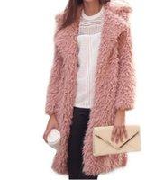 3 색 겉옷 새로운 여성 따뜻한 겨울 가짜 모피 코트 패션 스트리트 옷깃 긴 모직 코트 캐주얼 가을 재킷