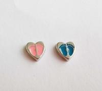 Следы сердца, плавающие брелоки для медальонов с памятью