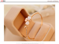 Trevo de luxo opala pulseira de diamantes de moda Coreana jóias presente branco Strass Cadeias De Cristal de Tênis para as mulheres Recolha de lazer accessori