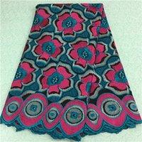(5yards/pc)красивый цветок с рисунком горный хрусталь швейцарский вуаль сетки кружева, Африканский хлопок кружевной ткани для партии платье BC44-11