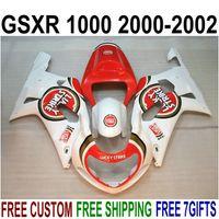 Skräddarsy Fairing Kit för Suzuki GSX-R1000 K2 2000 2001 2002 Röd vit Lucky Strike Fairings Set 00 01 02 GSXR 1000 Bodykits V62S