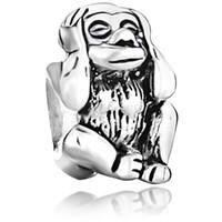 Personalisierte Schmucksachen hören keine bösen Affen europäischen Spacer Perle Metall Charm Armband mit großem Loch Pandora Chamilia kompatibel