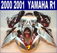 ABS Karosseriesatz für YAMAHA 2000 2001 YZF R1 Verkleidungskit YZF1000 00 01 rot silber Fortuna Verkleidungen RQ1 + 7 Geschenke