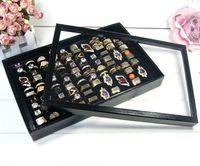درج أسود / أبيض مع غطاء 100 ثقب للخواتم عرض حلقات صندوق مجوهرات