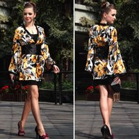 Lan Kwai Fong women silk chiffon long sleeve dress Japanese ...