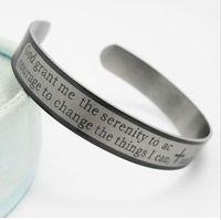12 pcs inglês oração serenidade pulseiras de aço inoxidável pulseiras dos homens fashon pulseiras atacado manguito jóias lotes